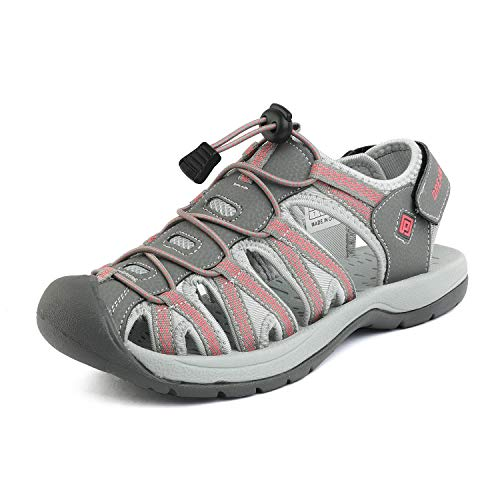 DREAM PAIRS Women's 160912-W-New Grey Coral Adventurous Summer Outdoor Sandals Size 5.5 M US