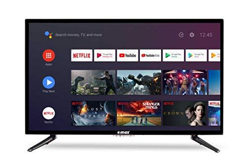 E:MAX 32 Pouces Smart Android TV 9.0 80 cm (E320HXA, HD LED Téléviseur, TNT terrestre, Chromecast, Google Assistant, Google Play, Prime Video et Netflix) WiFi intégré