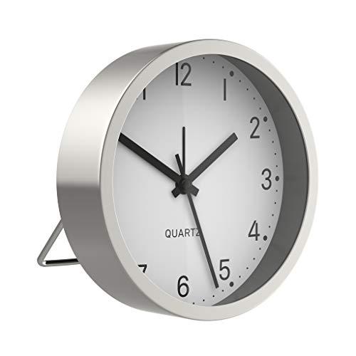 BonVivo Good Morning Alarm Clock, Analoger Wecker Batteriebetrieben, Moderner Uhr Wecker Analog & Lautlos, Quarzwecker Ohne Ticken Angenehm Im Schlafzimmer, Wecker Einfach Bedienbar, Tischuhr Silber