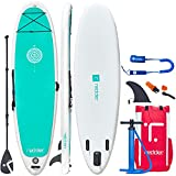 Paddle Board 10'8' Inflatable Stand Up Paddle Boards for Adults Yoga SUP Board with Premium SUP Accessories Paddle, Hand Pump, Leash, Backpack, Repair Kit, Fins, Non-Slip Deck and Shoulder Strap