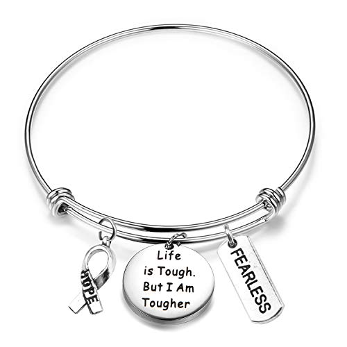 MAOFAED Cancer Survivor Gift Cancer Fighter Gift Life is Tough But I am Tougher Cancer Awareness Inspirational Gift Awareness Ribbon Charm Cancer Survivor Bracelet for Her (Cancer Survivor Bracelet)