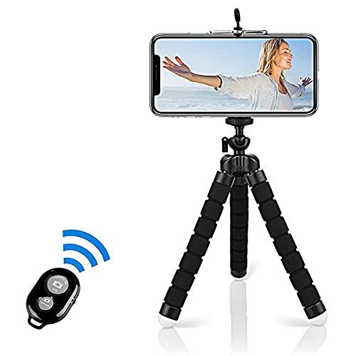 Alfort Treppiedi Cellulare, Portatile Treppiede Smartphone con Telecomando Bluetooth, 360°Rotazione Flessibile Mini Treppiede Compatibile iPhone / Galaxy / Honor / Xperia / Redmi (5.5'') Nero