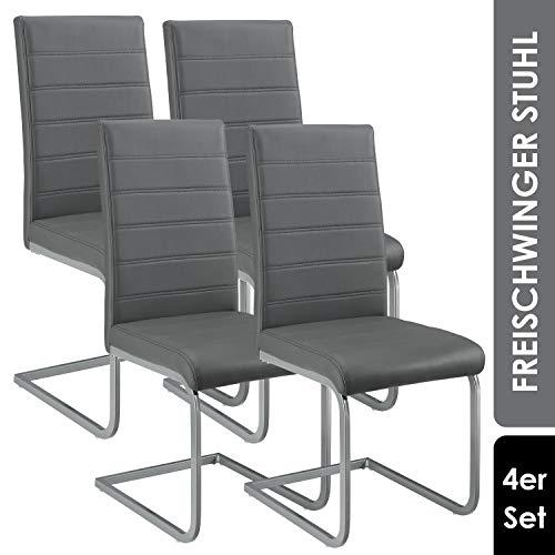 ArtLife Freischwinger Stuhl Vegas 4er Set   Kunstleder Bezug + Metall Gestell   120 kg belastbar   grau   Esszimmerstühle Schwingstühle