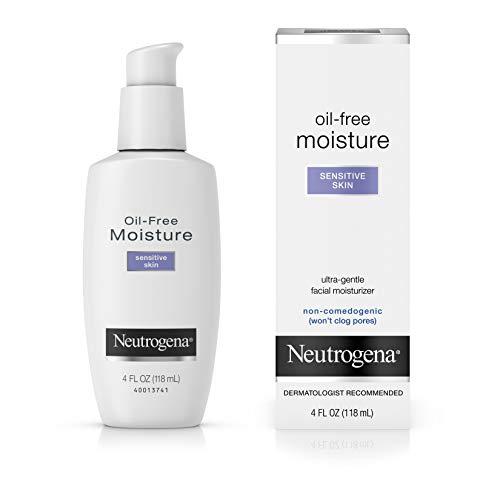 Neutrogena Oil-Free Daily Facial Moisturizer for Sensitive Skin, Ultra-Gentle & Lightweight Moisturizers Free of Fragrances & Dyes, 4 fl. oz