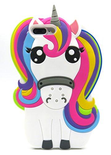Fundas Iphone 7 Plus Silicona Unicornio, Fundas Iphone 8 Plus Silicona Unicornio, Funda de Silicona Animales Suave Unicornio 3D para Fundas Iphone 7 Plus y Iphone 8 Plus Carcasas Dibujos Animados