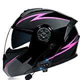 Motorcycle Modular Bluetooth Helmet Flip-Type Double Sun Visor Full Helmet DOT Certified Helmet for Adult Men and Women with 3 kinds of lens options Crash Helmet,Pink b,M 57~58cm