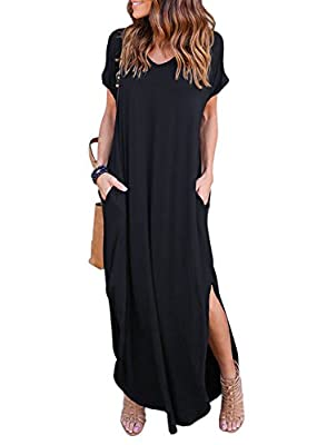 Features : V neck,Short sleeve,Side split,Casual Long beach dress,Maxi dress with Pockets,Loose fit.It is so pretty,hangs well,flattering and can be dressed up or down. Match:This women maxi dress is very versatile dress.It looks great with sandals/b...