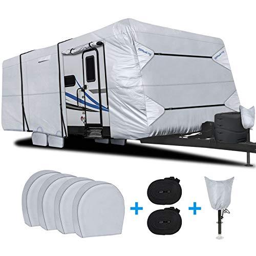 RVMasking Waterproof Travel Trailer RV Cover, Ripstop Camper...
