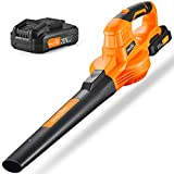 Leaf Blower -20V Cordless Leaf Blower with Battery & Charger, Electric Leaf Blower for Yard Cleaning, Lightweight Leaf Blower Battery Powered for Snow Blowing (Battery & Charger Included)