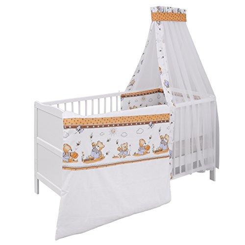 Urra Komplett-Kinderbett Luca 70x140 cm Kiefer weiß | teilmassiv | inklusive Bettset 3-teilig | Matratze | Himmelstange | Honigbär