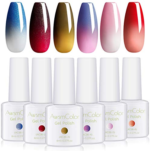 AwsmColor Color Changing Gel Nail Polish Yellow Pink Red White Glitter Blue, Warm Changing Soak Off LED Chameleon Nail Polish Set for Autumn Halloween Christmas Kit Gift DIY Manicuring 8ml 6 Bottles