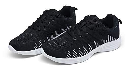 JOUSEN Men's Fashion Sneakers Knitted Fabric Lightweight Running Walking Shoes