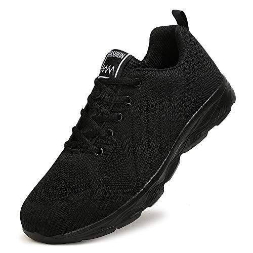ZPAWDH Calzado para Correr por Carretera para Hombre Calzado Deportivo para Exteriores para Mujer Calzado Ligero para Fitness y Transpirable(42EU,All Black)