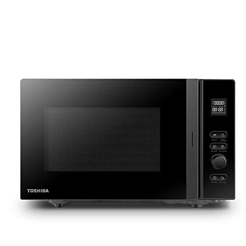 Toshiba MV-AM20T(BK) Mikrowelle/Solo-Mikrowelle/ 20 L/ 800 W/ 5 Leistungsstufen/ 12 Automatikprogramme/Emaille Innenraum/einfach zu reinigen/Auftaufunktion/Glasdrehteller (24,5 cm) /Schwarz
