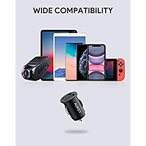 AUKEY Car Charger, Flush Fit Dual Port 4.8A Output for iPhone X / 8 / 7 / Plus, iPad Pro / Air 2 / mini, Samsung Galaxy Note8 / S8 / S8+ and More - Black