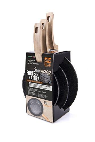 ALLUFLON Etnea Wood Edition Set da 3 Padelle, Alluminio, Nero, 20 - 24 - 28 cm