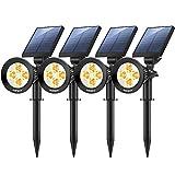 Nekteck 4 Pack Solar Lights,2-in-1 Outdoor Solar Spotlights Powered Adjustable Wall Light Landscape Lighting,Bright and Dark Sensing,Auto On/Off for Yard, Pathway, Walkway, Garden, Driveway