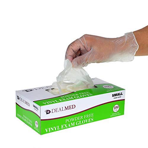 Dealmed Disposable Vinyl Exam Gloves, 100 Count (Small)
