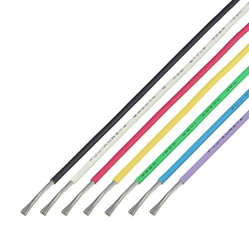 協和ハーモネット UL3265 AWG20 難燃架橋ポリエチレン絶縁電線 2mX7色 黒白赤黄緑青紫