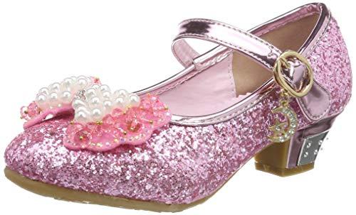 Tyidalin Niña Bailarina Zapatos de Tacón Disfraz de Princesa niña Princesa del Otoño de Las Lentejuelas de Prinavera para 3 a 12 Años Rosa 26