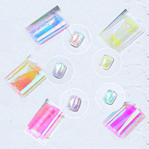 5pcs Aurora Nails Glass Foil Film Sticker Cellophane Paper 5×20cm Large Nail Foil Korean Nail Trend Design Ice Cube Manicure Decoration Laser Jewelry Candy Paper diy 5 Color Sticker