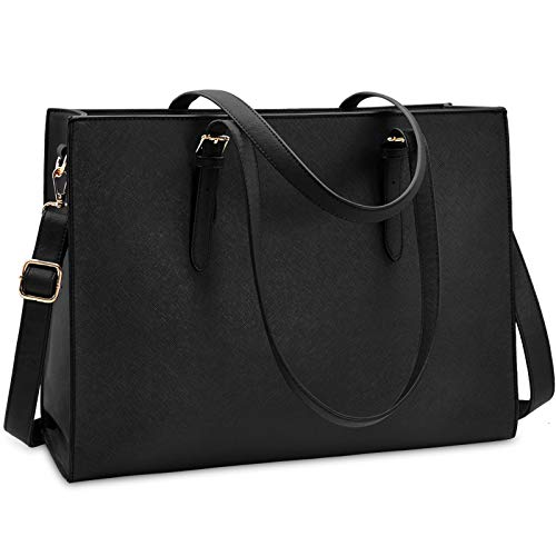 """41k5mg4TezL ☆Classy & Professional Laptop Women Bag☆ - Made of durable and premium water-repellent scratch-resistant soft PU leather and polyester lining. Metal feet base protects your bag from damage. NUBILY laptop bag is perfectly poised and beautiful style anywhere you go, the simple lines and solid colors make this large business tote bag is a classical piece. ☆Perfect Size Laptop Tote Bag☆ - Spacious in design and lightweight in feel and ideal size in 16.7"""" L x 5.7"""" W x 12.6"""" H, double adjustable shoulder handles 9.8''-12.9"""" help you for a comfier carry. Extremely lightweight just 1.9 lb, it's a universal size so it fits all 13-15.6 inch laptops. Carry the laptop bag by the top adjustable handle or on the shoulder with the comfortable fully detachable wide cross-body strap which remains chic through any occasion. ☆Roomy Compartment Computer Bag for Women☆ - Laptop bag divided into three sections.1 main padded pocket design for 15.6 inch(included 13/14 inch) laptop with a thick padded foam section, 2 open big pockets perfect for your A4 documents and books, 1 large zipped pocket for your personal stuff, 1 iPad pocket, 2 slot pockets, and 2 pens pocket, and 1 small zipper pocket for your files, a wallet, sunglasses, a phone, makeups and so on."""