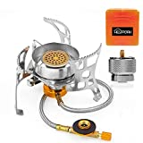 HEYPORK 3600W Portable Backpacking Stove with Piezo Ignition–Camping stove Includes Fuel Canister Adapter and Carry Case – Windproof Design and Energy Efficient (Yellow)