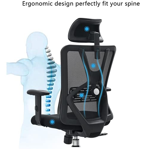 Product Image 4: Ticova Ergonomic Office Chair - High Back Desk Chair with Adjustable Lumbar Support & Thick Seat Cushion - 130°Reclining & Rocking Mesh Computer Chair with Adjustable Headrest, Armrest
