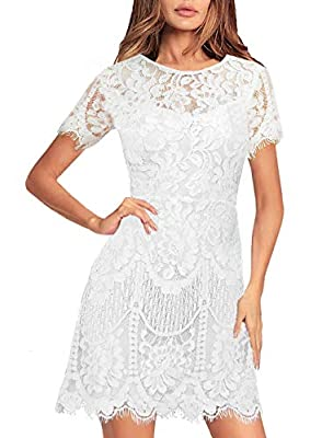 Polyester, LACE Fabric IS NOT Elasticity!!! but is soft. SIZE: Please compare other buyers' reviews, thank you! Design: Round neck, fluttering short sleeve, or sleeveless, lined, above the knee, Mid-thigh. lovely eyelash lace, V-back with hidden zipp...