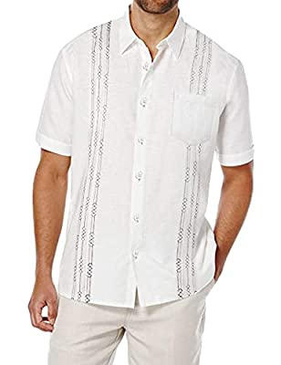 High Quality Fabric: This embroidered guayabera shirts for men are made of soft and lightweight cotton linen material, which makes you comfort and handsome. Linen Cuban Shirts for Men: Short sleeve embroidered wedding shirts for men features geometri...