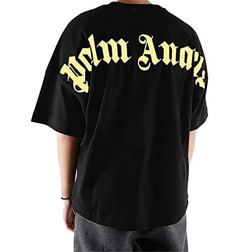 Closhion Palm Angels T-Shirt Tee Maglietta Uomo Donna Oversize (Nero, M)