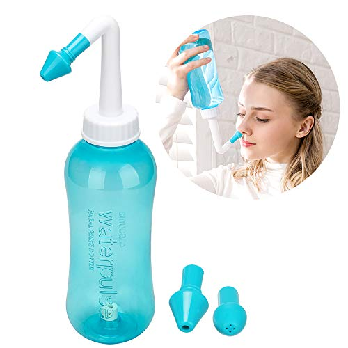 500ml Sinus Rinse and Nasal Irrigation, Nose Care Perfect for Cleaning Your Sinuses Nose Allergies, Colds, and General Hygiene for Adult & Kid BPA Free Nasal Wash Bottle Soothing Wash(Green)