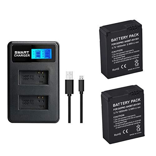 2 pezzi 1600 mAh per GoPro AHDBT-301 AHDBT 301 AHDBT-201 AHDBT 201 batteria con doppio caricatore per fotocamera GoPro Hero 3 3 + AHDBT-301, AHDBT-302 Batteria