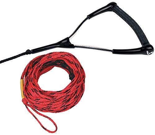 MESLE Wasserski- und Wakeboard-Leine Ergo TR 75\', schwimmend, Länge 23 m, verkürzbar auf 16,7 m, ergonomischer Gummi-Griff, rot schwarz, mit Rope Keeper