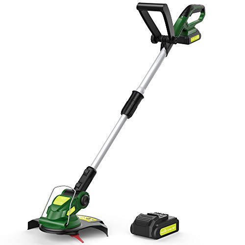 Cordless String Trimmer - Weed Trimmer/Eater Battery Powered, 12-Inch, 18V Grass Trimmer with Battery & Charger, Electric Lawn Trimmer for Weed-Wacking, Weed-Eating (3.0Ah Battery&Charger Included)