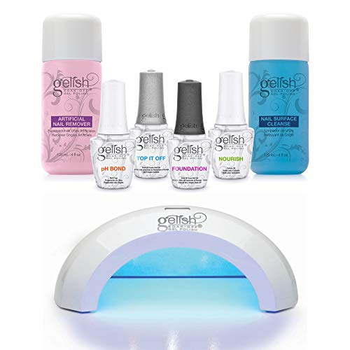 Gelish Mini Pro 45 Second LED Gel Curing Light + Gel Polish Full Basix Care Kit with Essential for Gel Polish