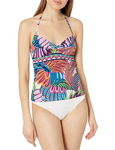 41kHYgJiBvL DESIGNER SUMMER SWIMWEAR — For the get up and go girl, this tankini top by Trina Turk makes an excellent travel companion. Gold cord ends add a hint of character to this versatile swim piece. An adjustable fit and removable cups provide support and coverage to the bust FULL TANKINI COVERAGE — The full coverage fit gives you some stylish wiggle room to feel confident in and out of the pool, while still showing off your style and physique TROPICAL PLUME PRINT — Show off your summer tan in this trendy swim item that features a stunning tropical flora feather print against a chic white background