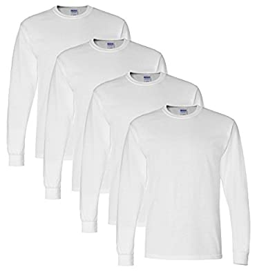 Includes 4 long sleeve tees and 1 pair of complimentary Gildan Platnum ankle socks. DryBlend technology delivers moisture-wicking properties. Heat transfer label. Double-needle stitched neckline, bottom hem and sleeves. Pre-shrunk 50/50 cotton/polyes...