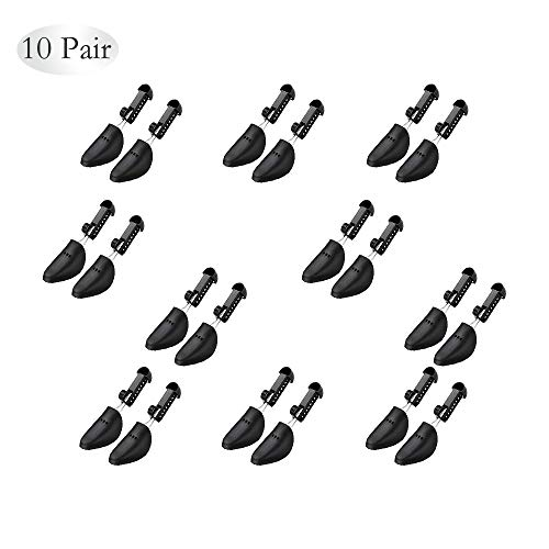 WAJJ 10 Pairs Plastic Shoe Tree Stretcher Shaper for Women Adjustable Length Shoes Boot Holder Shaper Support(Black Women)