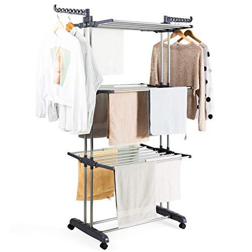 COSTWAY Wäscheständer faltbar, Wäschetrockner rollbar, Standtrockner Kleiderständer mit Faltregalen, Schuhablage, schwenkbaren Haken (grau)