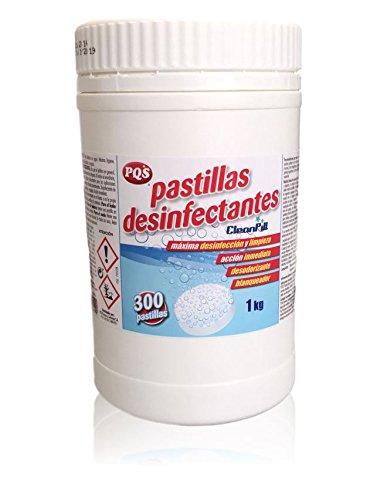 Pastillas desinfectantes de lejía. Bote de 300 dosis. 1Kg, Más seguridad y desinfección. Evita derrames