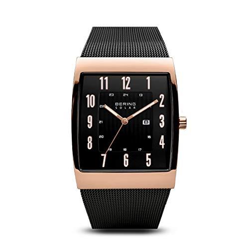 BERING Herren Analog Solar Uhr mit Edelstahl Armband 16433-166
