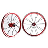MZPWJD BMX 406 Rim 20 Inch Bike Wheelset Rim Brake Foldable Bicycle Front and Rear Wheel with 9T Sprocket Sealed Bearing Hub 1210g (Color : Red, Size : 20')