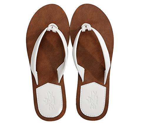 AXBOXING Chanclas Mujer Flip Flop PU Cuero Simple Elegante Sommer Sandalias Verano Suave Ligeras Playa Vacaciones Antideslizantes Tamaño 36-41 (Blanca, Numeric_37)