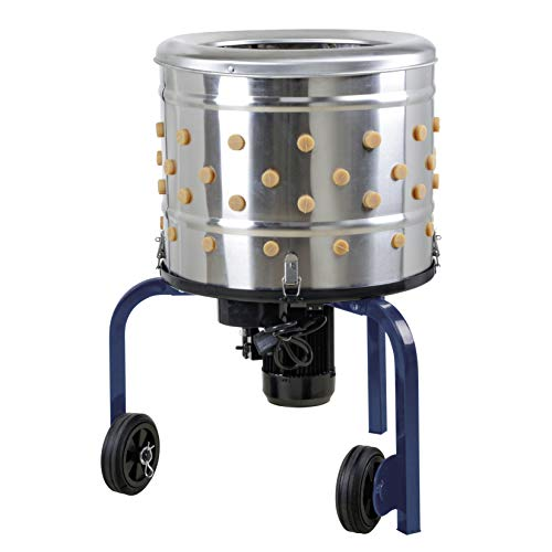 KITCHENER Chicken Plucker De-Feather Remover Poultry & Fowl Food Processor Stainless Steel Heavy Duty Electric 1HP 120VAC 280RPM Planetary Gear Motor GFCI Connector 92 Soft Fingers 20' Drum Diameter