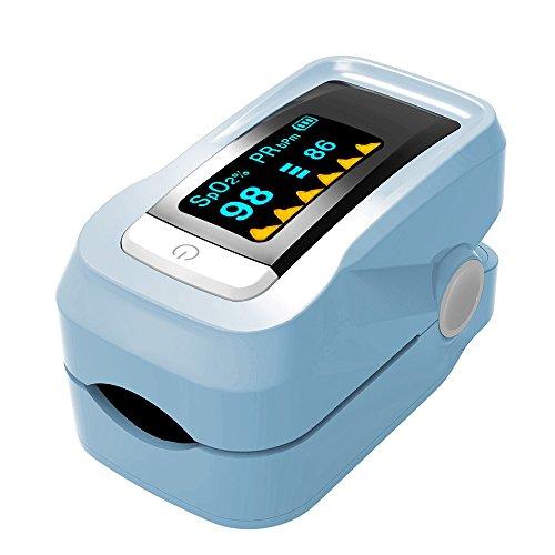 YZCX Pulsossimetro Saturimetro da Dito Portatile Professionale con OLED Lettura Istantanea per Frequenza Del Polso(PR), La Saturazione di Ossigeno(Spo2) e PI Misure con Laccio, Nero (Blu)