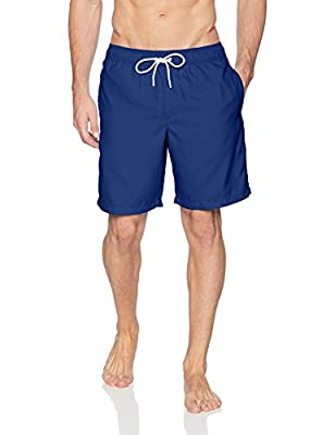 "This trunk-style swimsuit features an elastic waistband with drawstring for a flexible yet secure fit Features 9"" inseam, side seam pockets, and single rear pocket with hook and loop closure Sport made better: we listen to customer feedback and fine-..."