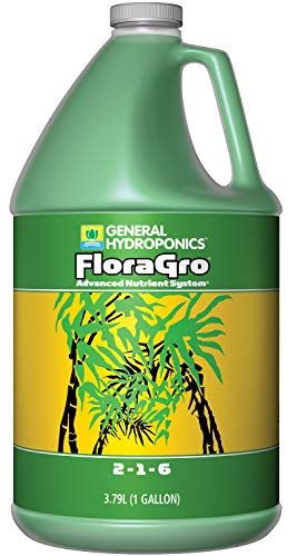 General Hydroponics GH1423 FloraGro 2-1-6, Use with FloraMicro & FloraBloom, Provides Nutrients for Structural & Foliar Growth Ideal for Hydroponics, 1-Gallon, 1 Gallon, Green