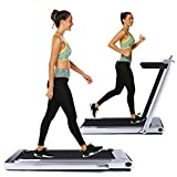 OppsDecor Under Desk Treadmill 2in1 Walking Running Machine Electric Treadmill Folding Pad Treadmill with Remote Control and Bluetooth Speaker for Home & Office Workout Indoor Exercise Machine (Gray)