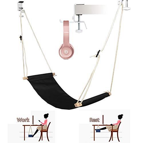Etmury Fuß Hängematte Verstellbar Praktische Fußhängematte Schreibtisch Fußstütze Mit Kopfhörerhaken Zur Entspannung im Büro